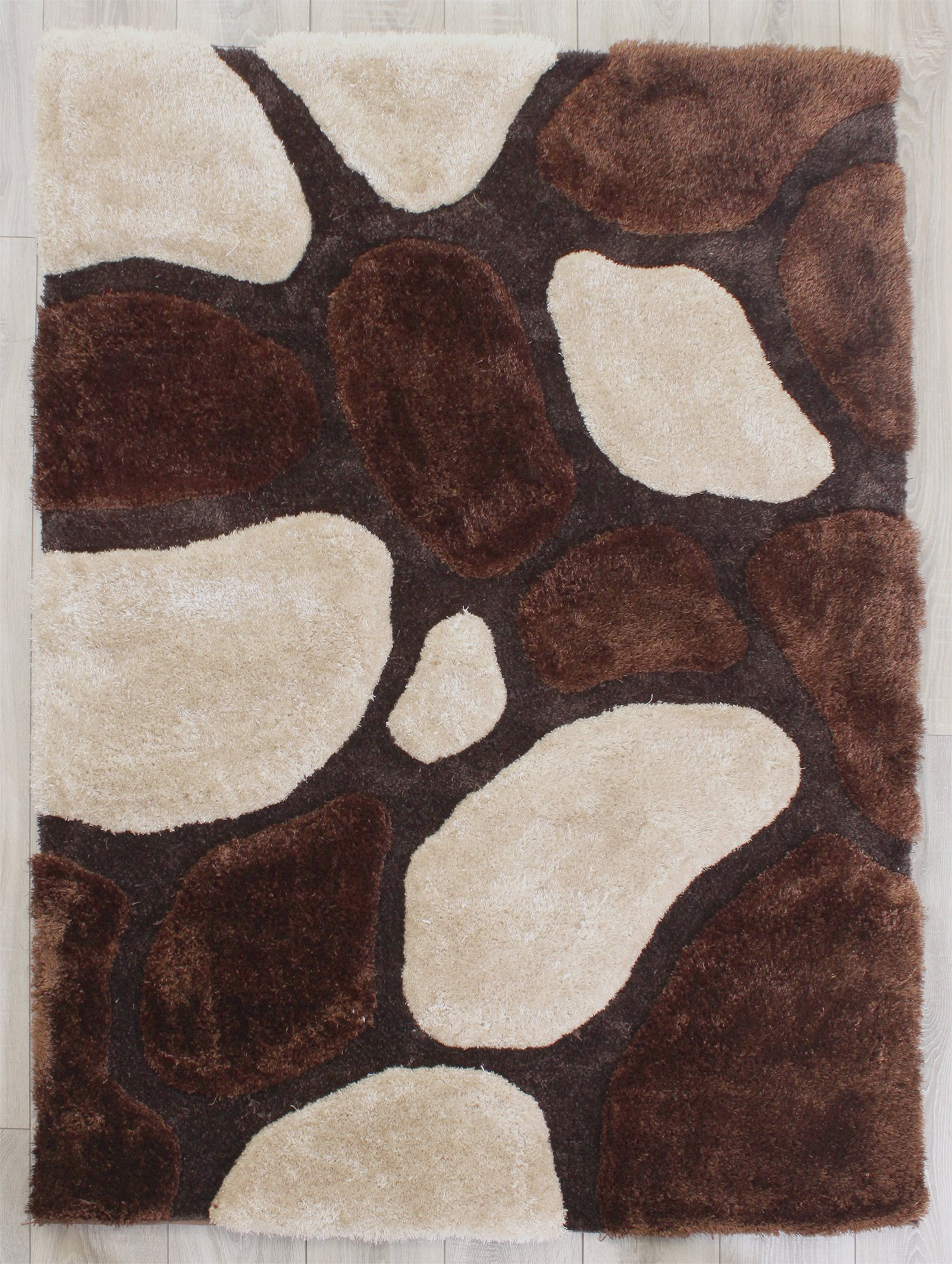 3D Stepping Stones Rug - 160x225cm - Natural.