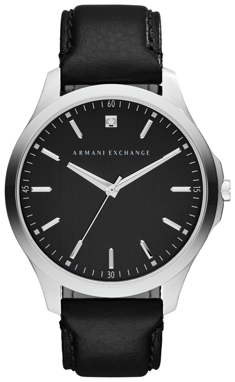 Image of Armani Exchange AX2182 Men's Black Leather Strap Watch