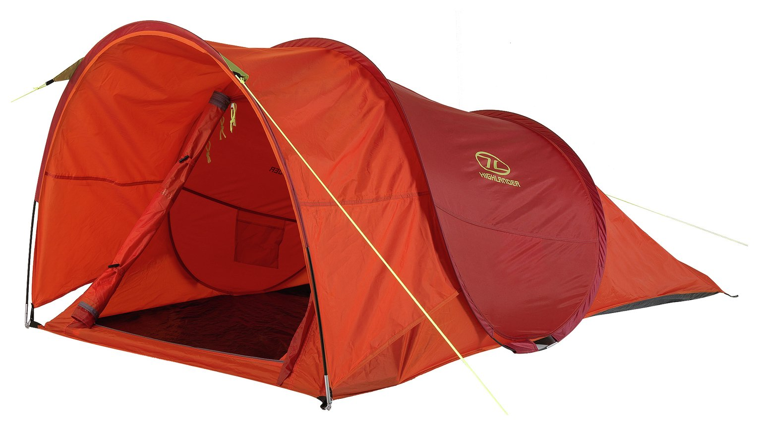 highlander 2 man pop up tent with awning