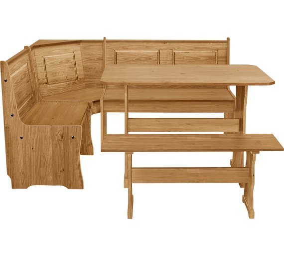HOME Puerto Rico Solid Wood Nook Table 3 Corner Bench Set