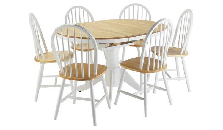 07fcb23f22 Argos Home Kentucky Ext Wood Veneer Table & 6 Chairs -T Tone603/5691