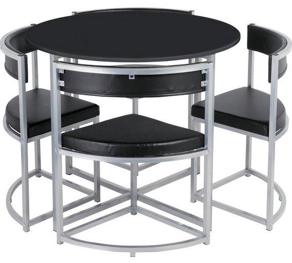 Buy Hygena Milan Oak Effect Space Saver Table & 4 Chairs - Black ...