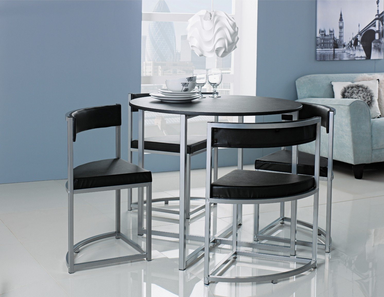 Buy Hygena Milan Oak Effect Space Saver Table 4 Chairs Black