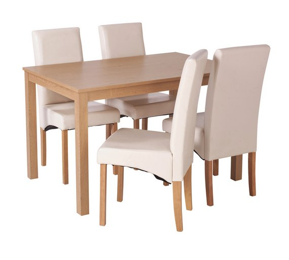 HOME Bromham Oak Effect Dining Table 4 Chairs