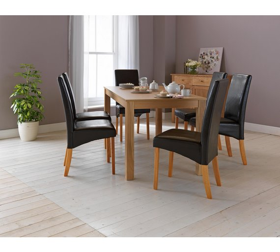 HOME Bromham Oak Effect Dining Table 6 Chairs