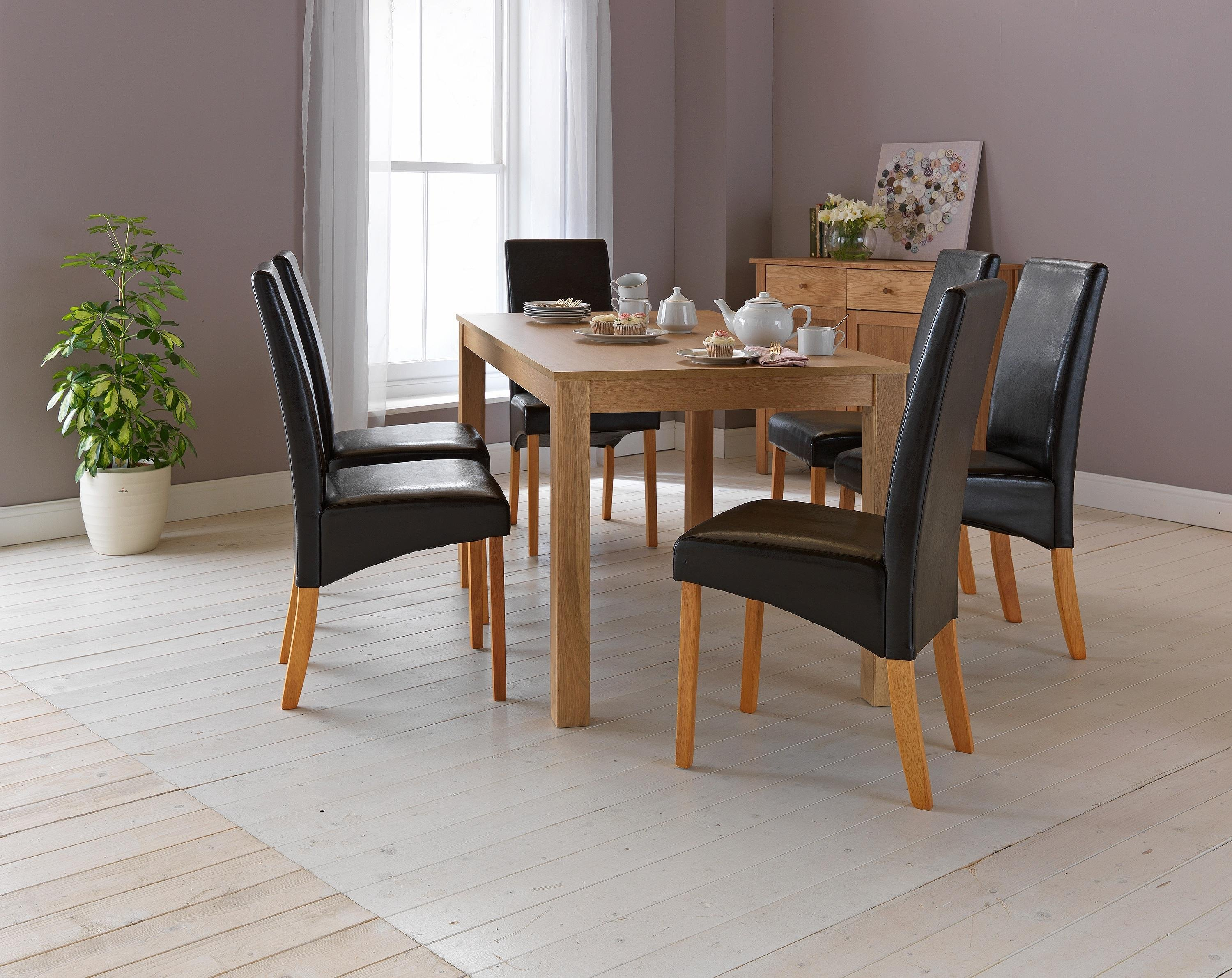 Buy HOME Bromham Oak Effect Dining Table   Chairs - Chocolate at