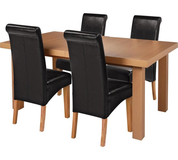 Collection Wickham Ext Oak Veneer Table 4 Chairs