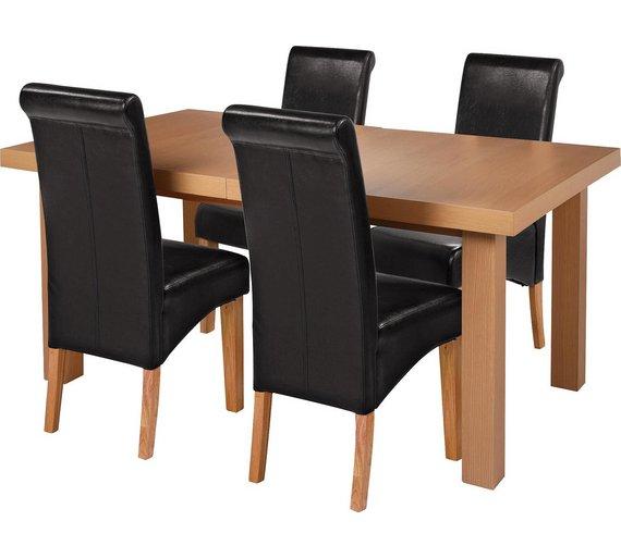 Buy Collection Wickham Ext Oak Veneer Table 4 Chairs
