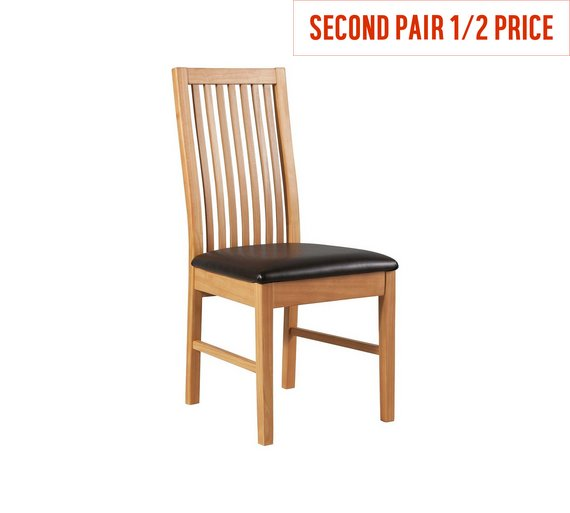 Buy HOME Paris Pair Of Mid Back Dining Chairs Chocolate At Argos - Oak dining chairs uk