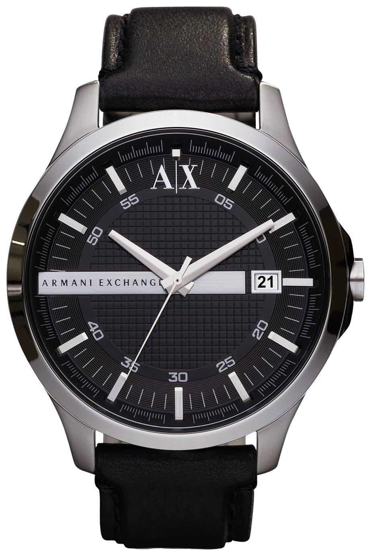 Armani Exchange Men's Black Leather Strap Watch