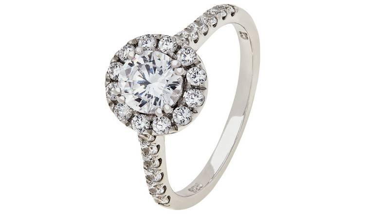 ccc33e1bb0d0e Buy Revere Sterling Silver Round Cubic Zirconia Halo Ring   Dress rings    Argos