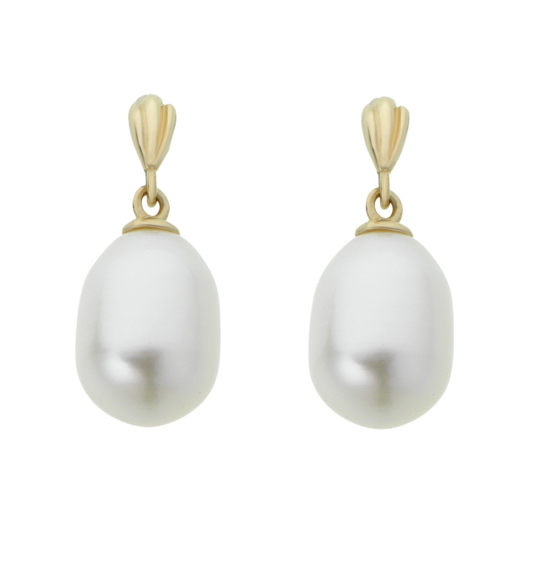 Revere 9ct Yellow Gold Pearl Oval Drop Earrings
