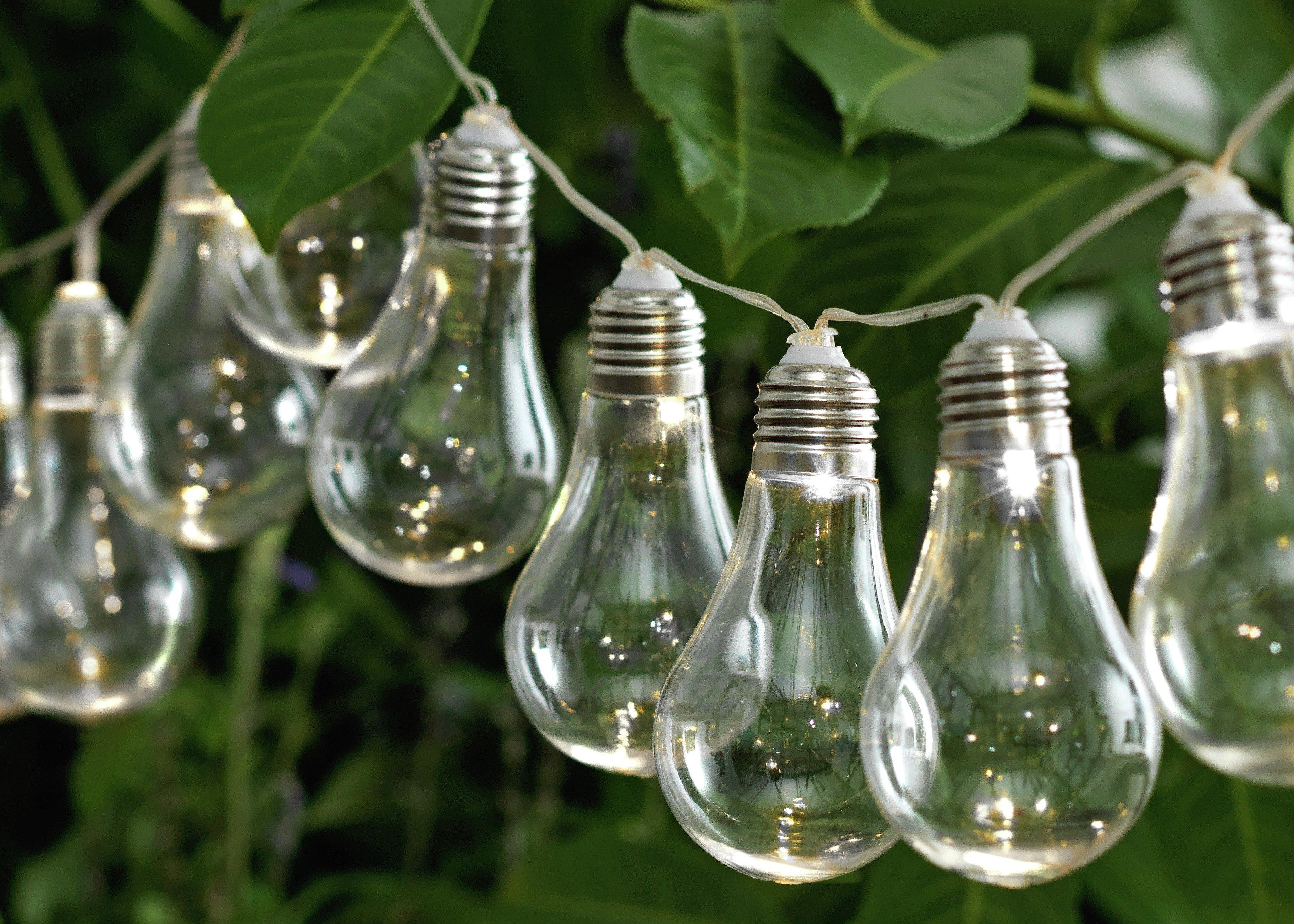 Buy HOME Set of 20 Solar Powered Bulb String Lights White Solar