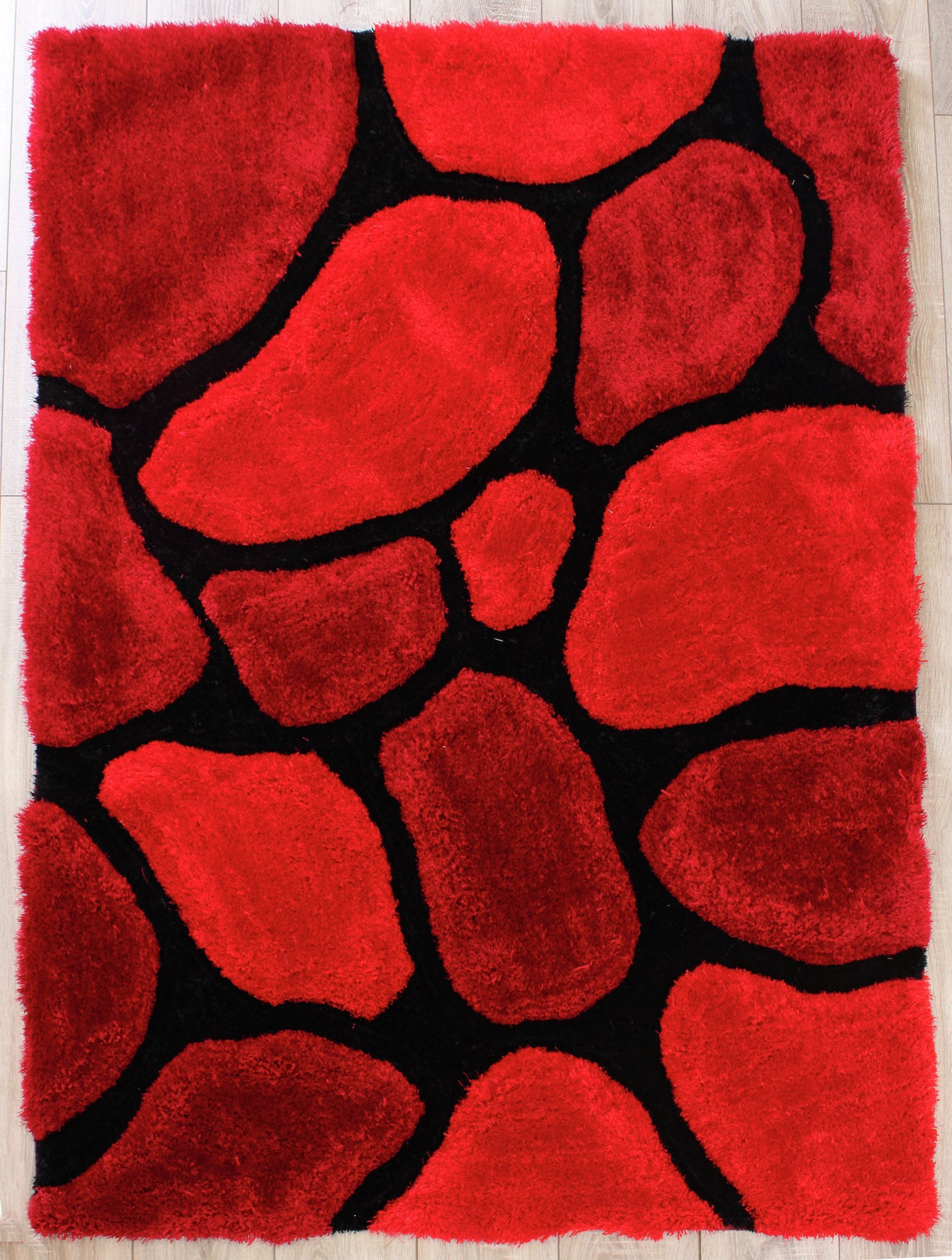 3D Stepping Stones - 160x225cm - Red.