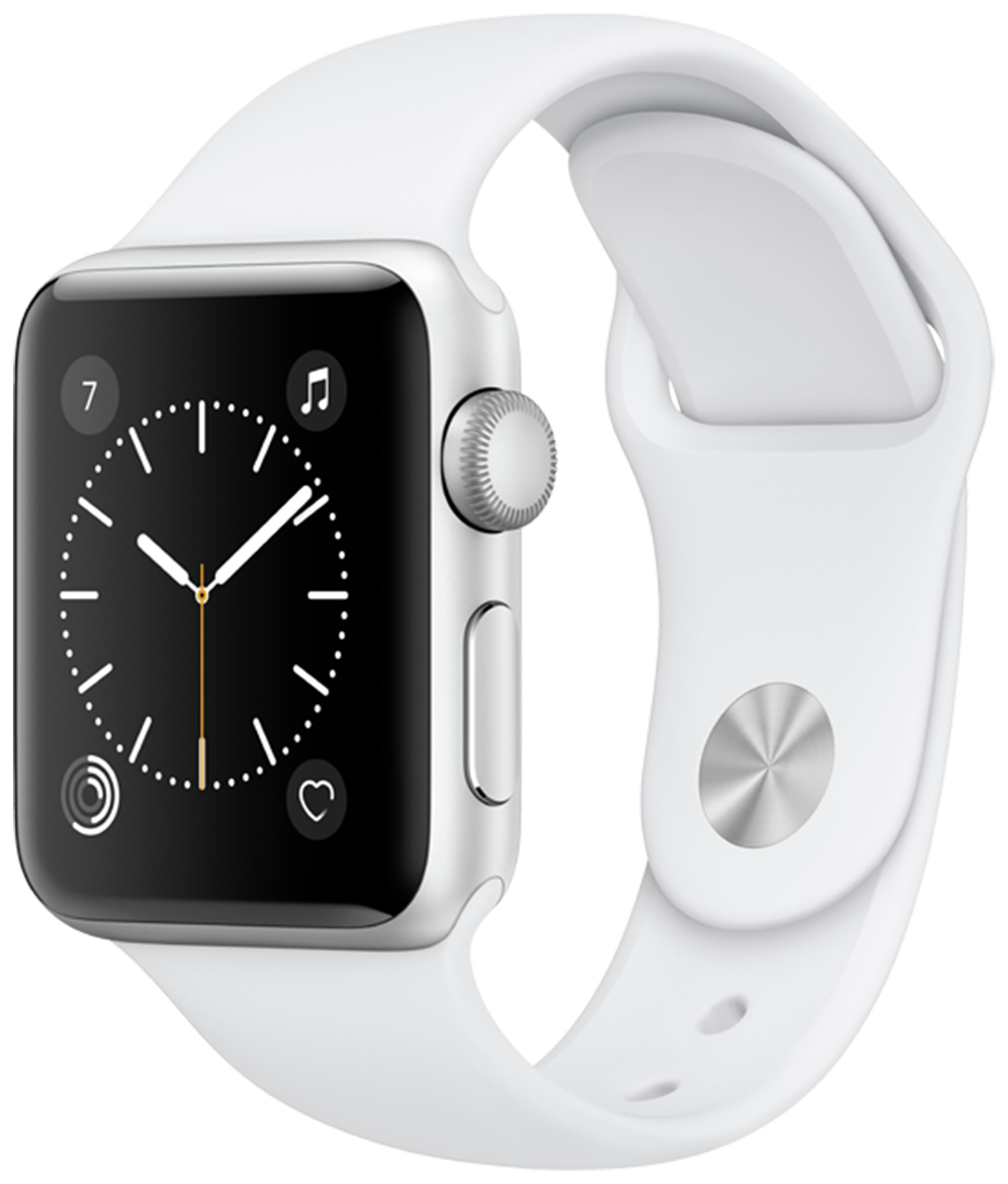 Apple Watch S1 38MM Silver Aluminium Case with White Band.