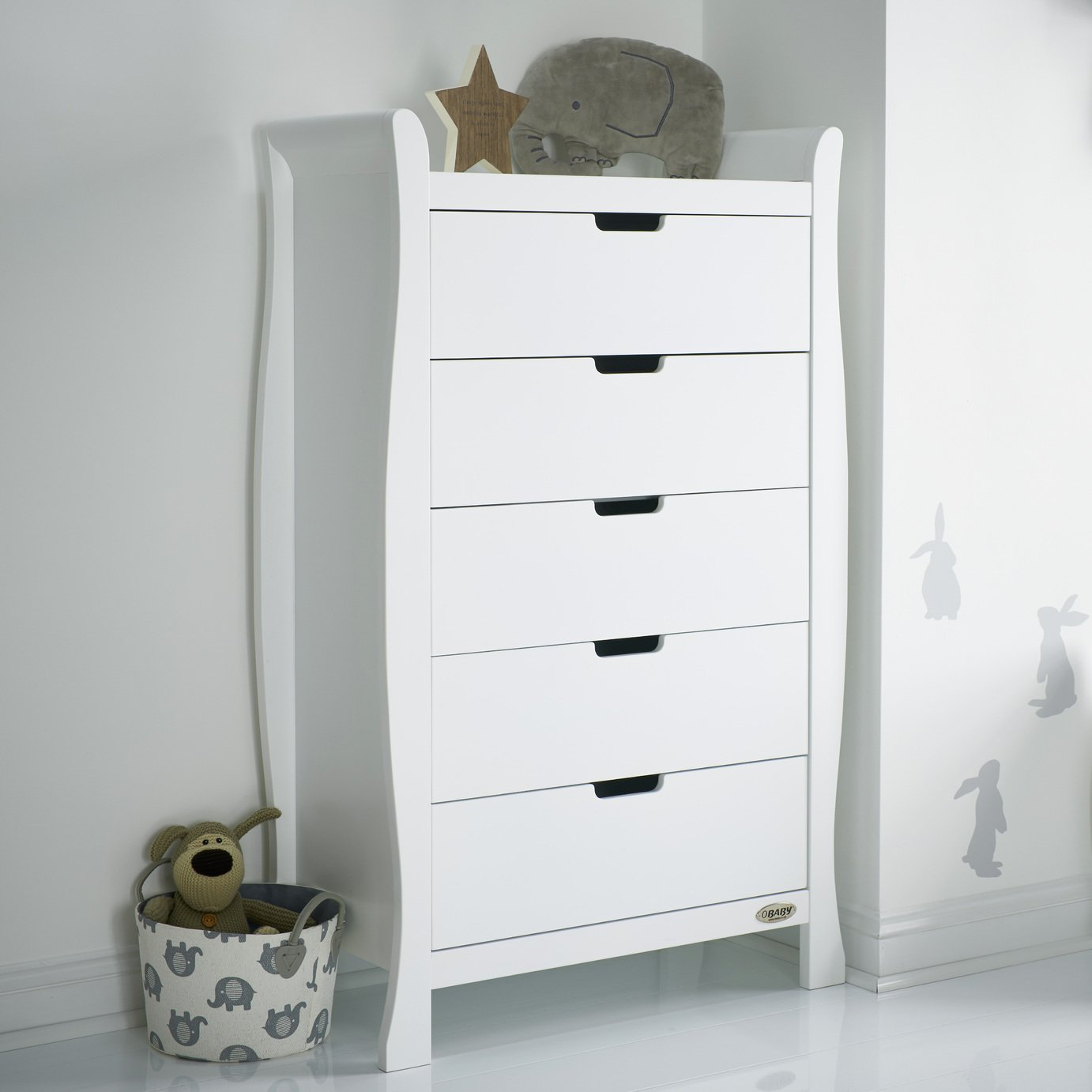 Image of Obaby Stamford Sleigh Tall Chest of Drawers - White