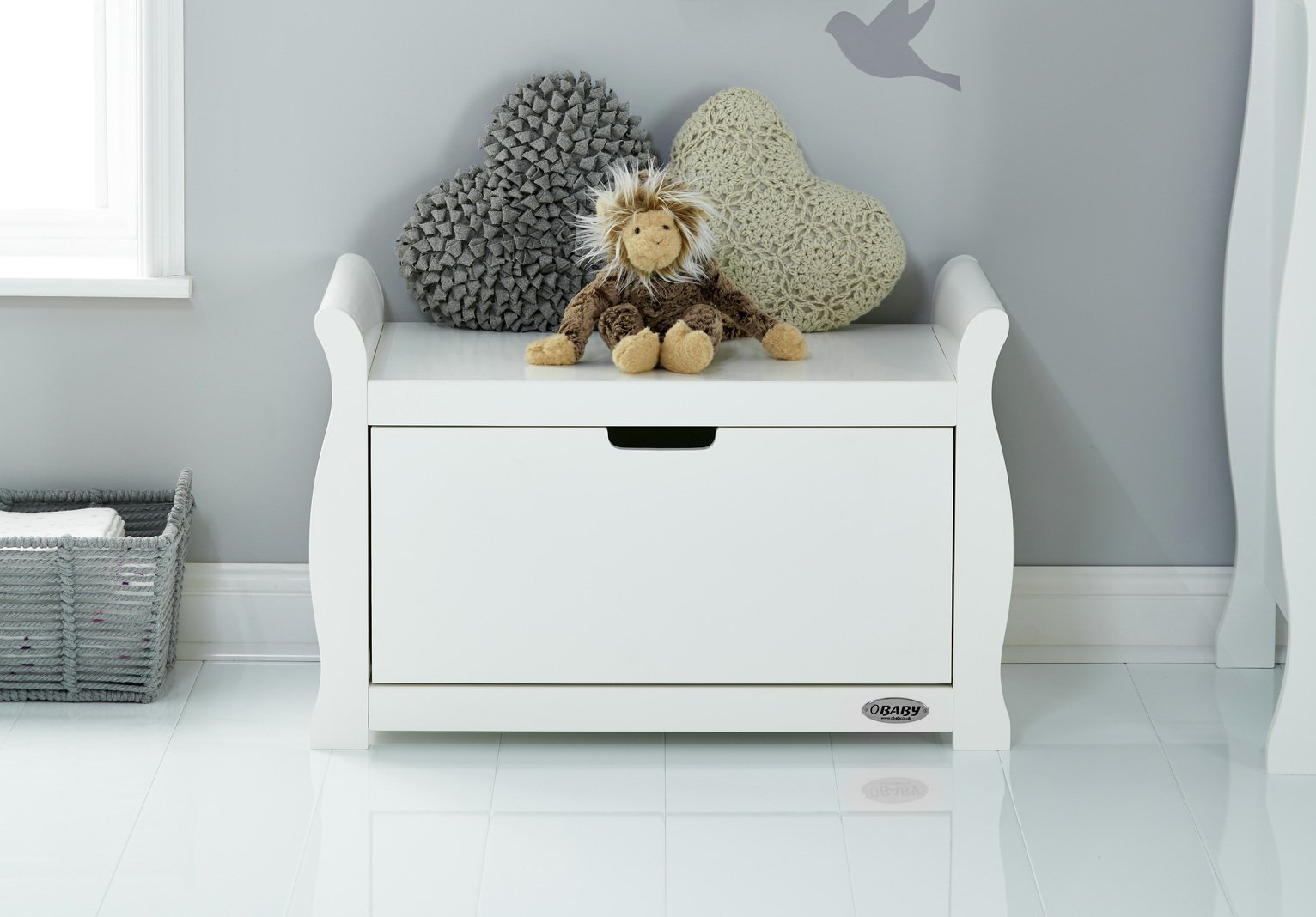 Obaby Stamford Sleigh Toy Box - White