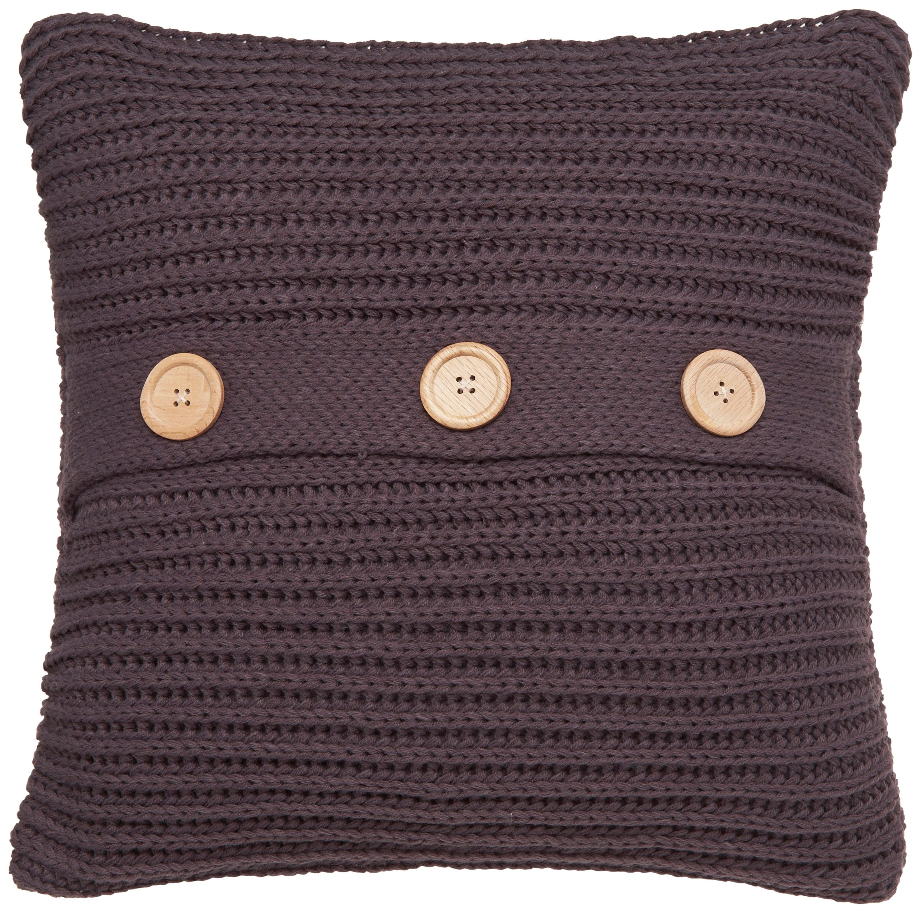 Image of Catherine Lansfield Chunky Knit Cushion - Charcoal