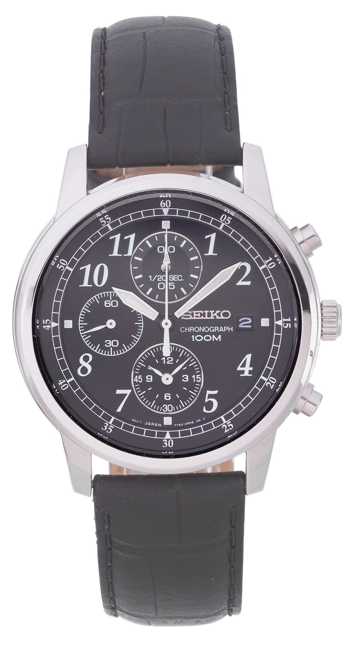 Seiko Men's Black Leather Strap Chronograph Watch