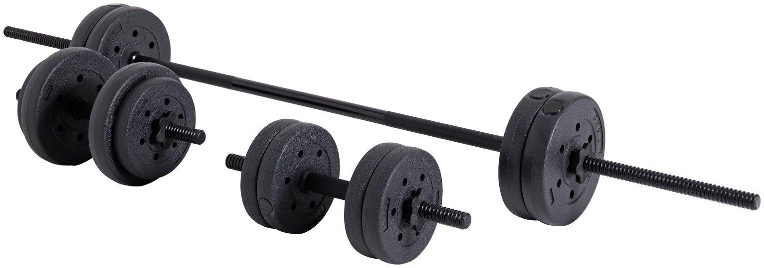 Opti Vinyl Barbell and Dumbbell Set - 25kg