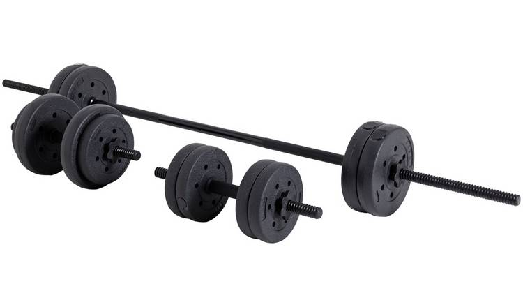 Opti Vinyl Barbell and Dumbbell Set - 25kg