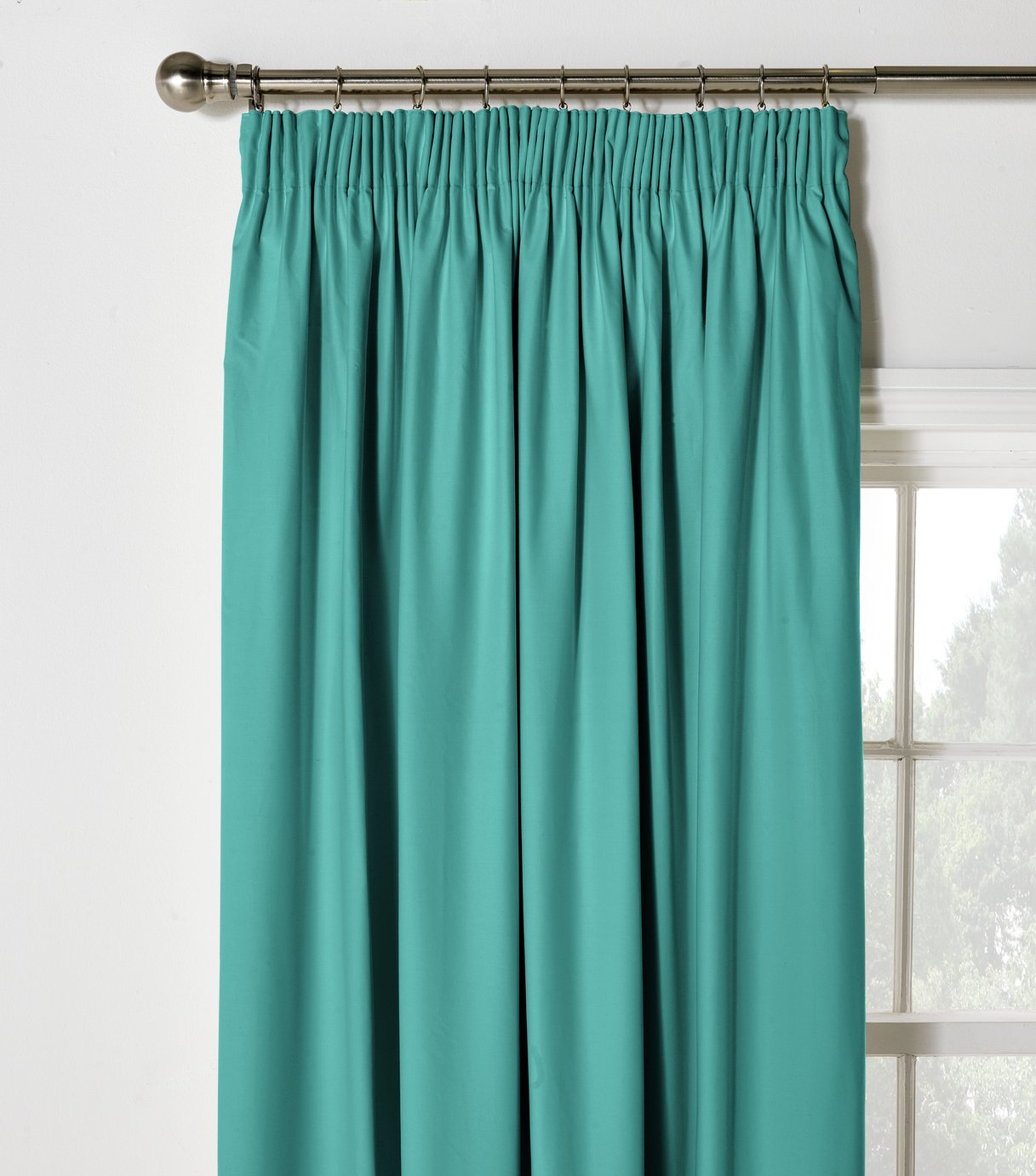 Image of ColourMatch Blackout Pencil Pleat Curtains -117x137cm- Teal
