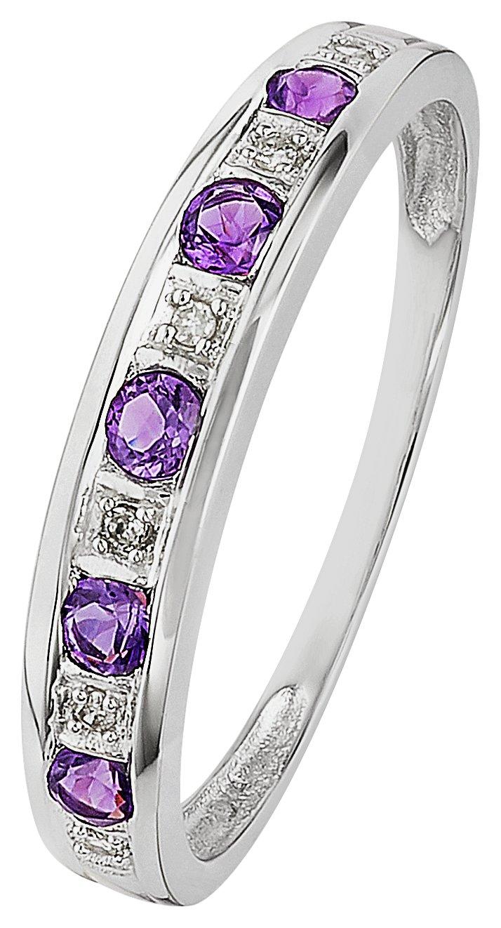 Revere 9ct White Gold Amethyst & Diamond Eternity Ring