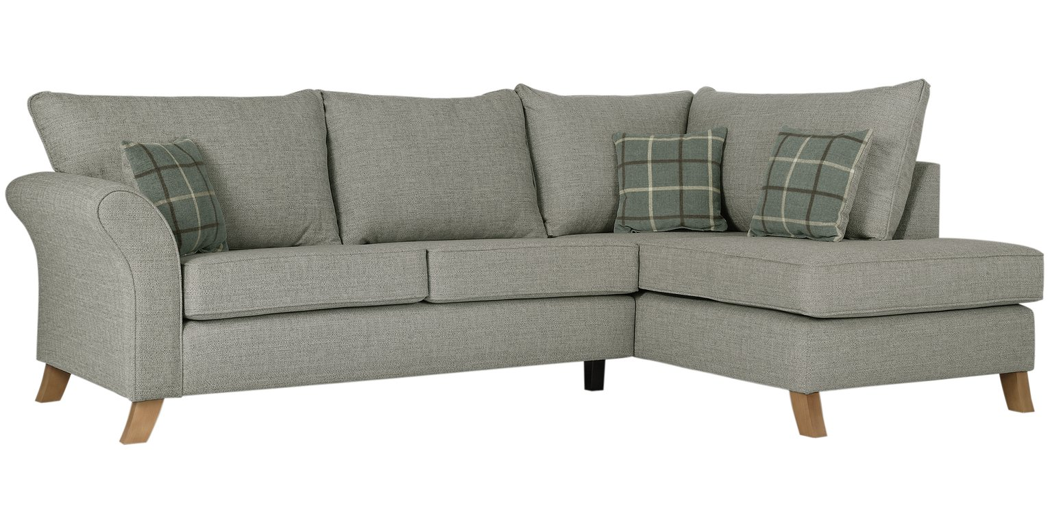 Argos Home Kayla Right Corner Fabric Sofa - Light Grey