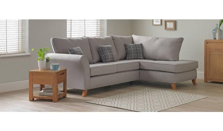Buy Argos Home Kayla Right Corner Fabric Sofa Light Grey   Sofas   Argos