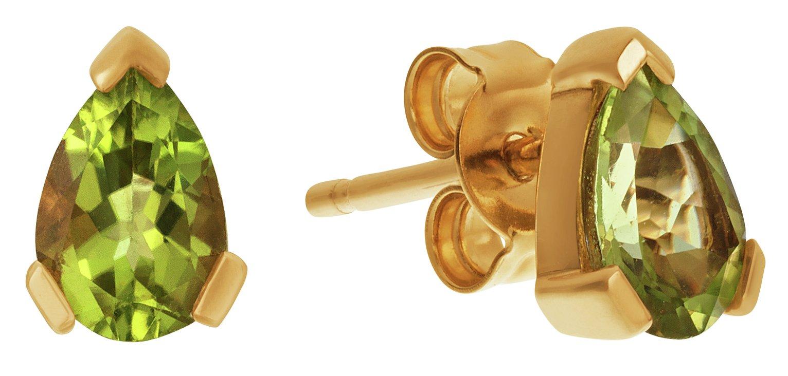Revere 9ct Yellow Gold Peridot Teardrop Stud Earrings