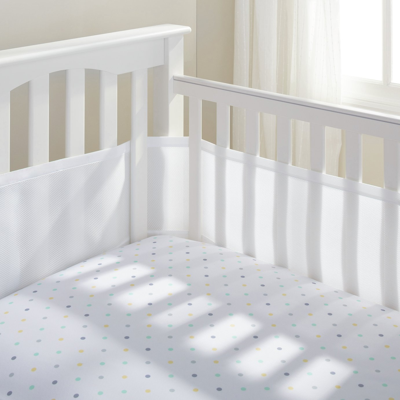 Image of BreathableBaby - 4 Sided - Cot Liner - White Mist