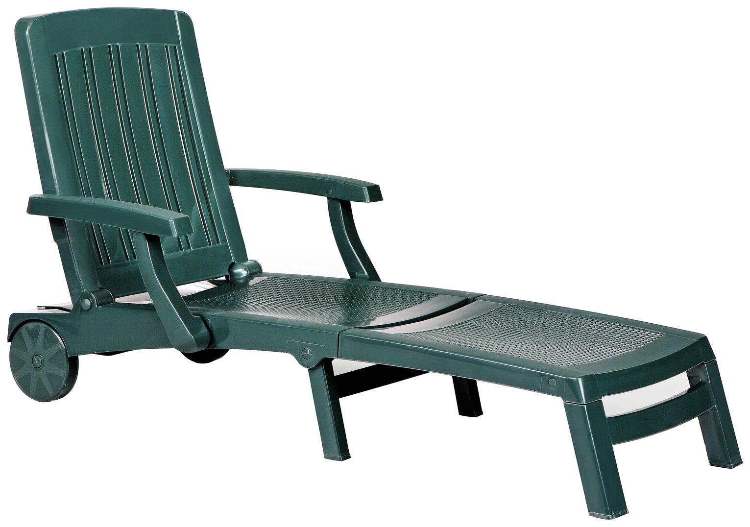 Argos Home Deluxe Green Resin Sun Lounger