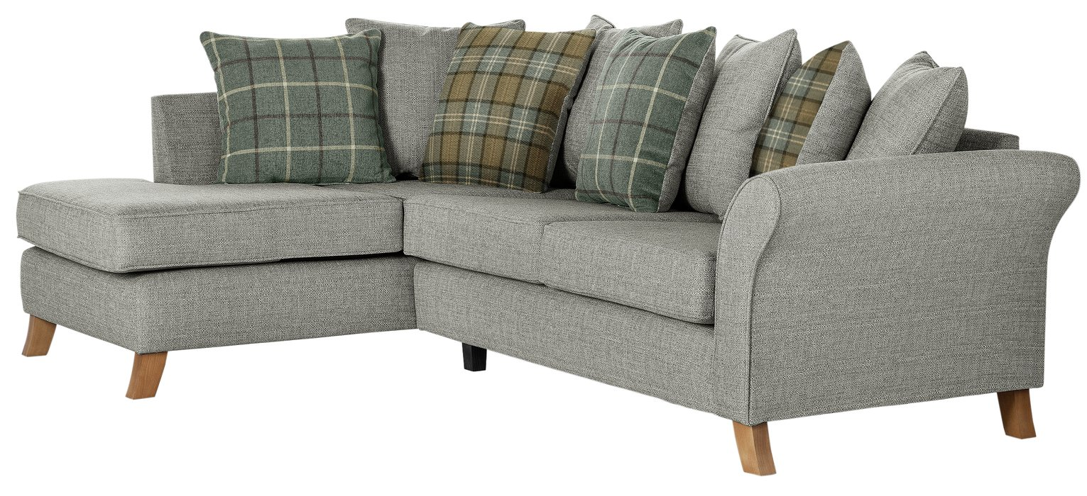 Argos Home Kayla Left Corner Scatter Back Sofa - Light Grey