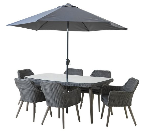 Heart of House Rio Rattan Effect 6 Seater Dining Set605/8984