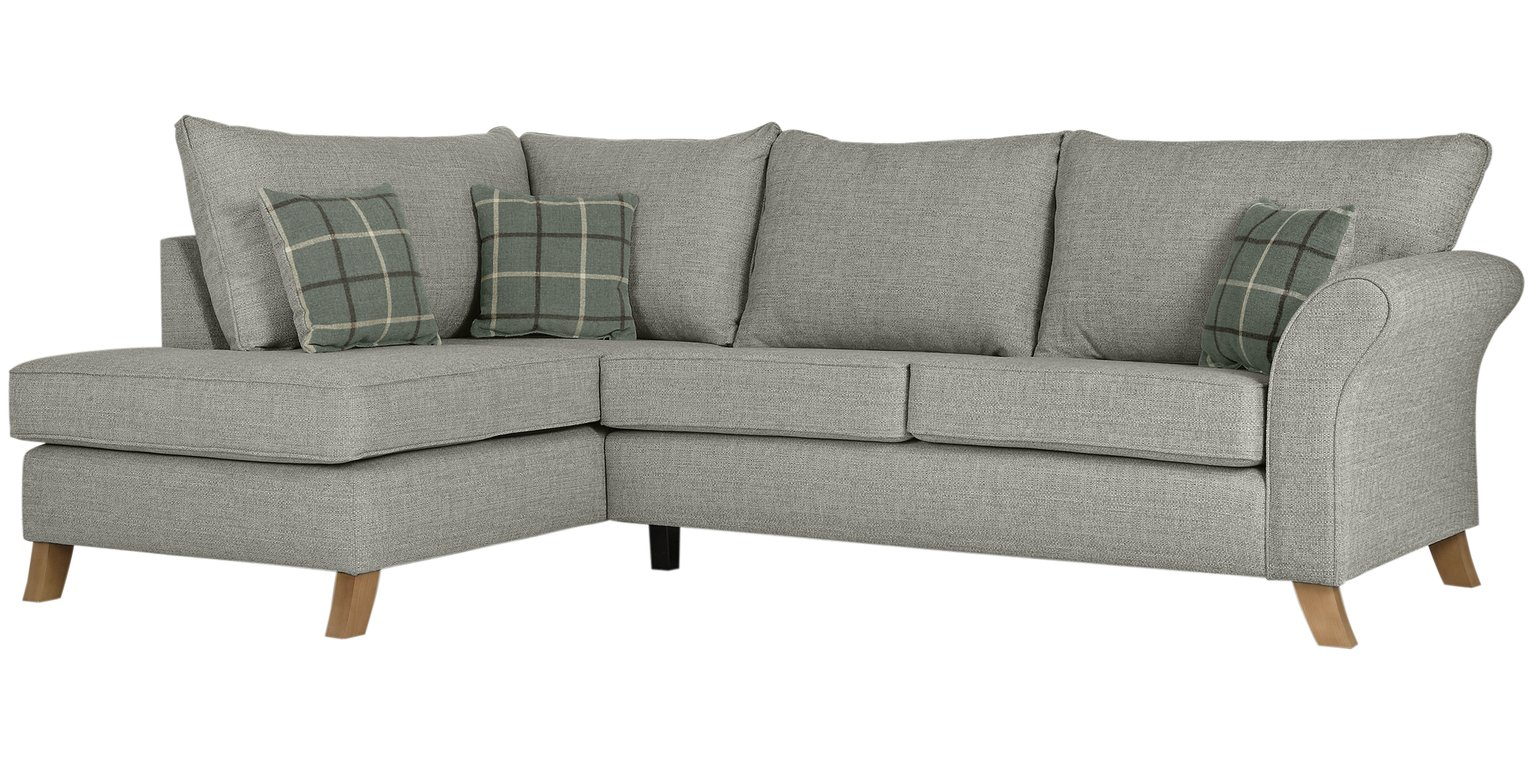 Argos Home Kayla Left Corner Fabric Sofa -Light Grey