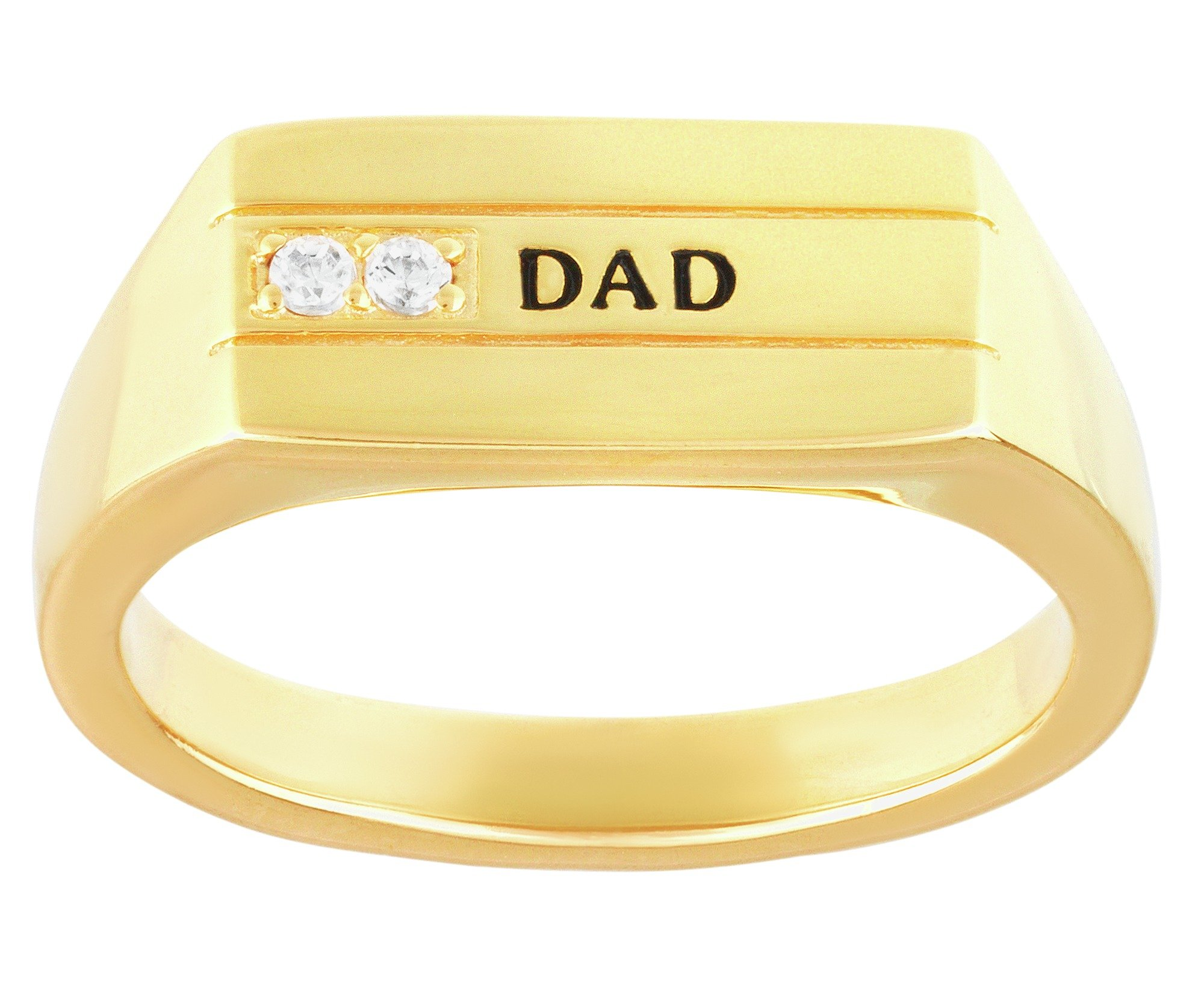 Domain Gents' 9ct Gold Plated Silver Dad Ring Boxed.