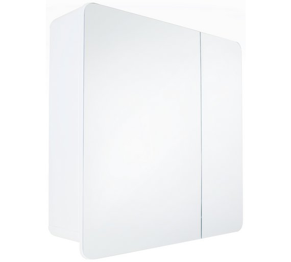 Buy Hygena Curve Double Door Mirrored Bathroom Cabinet White At Your Online Shop