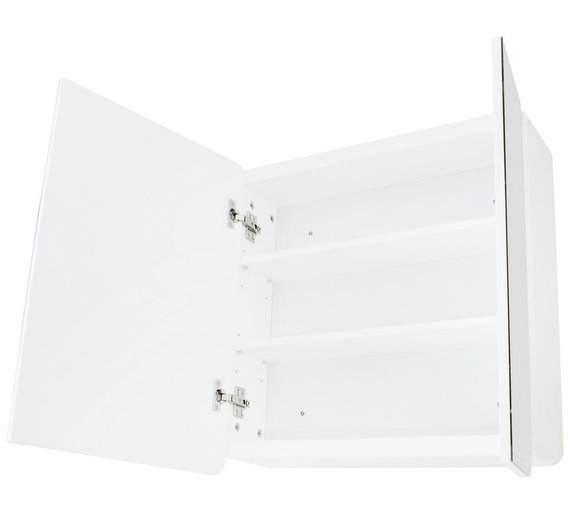 Buy Hygena Curve Double Door Mirrored Bathroom Cabinet - White at ...