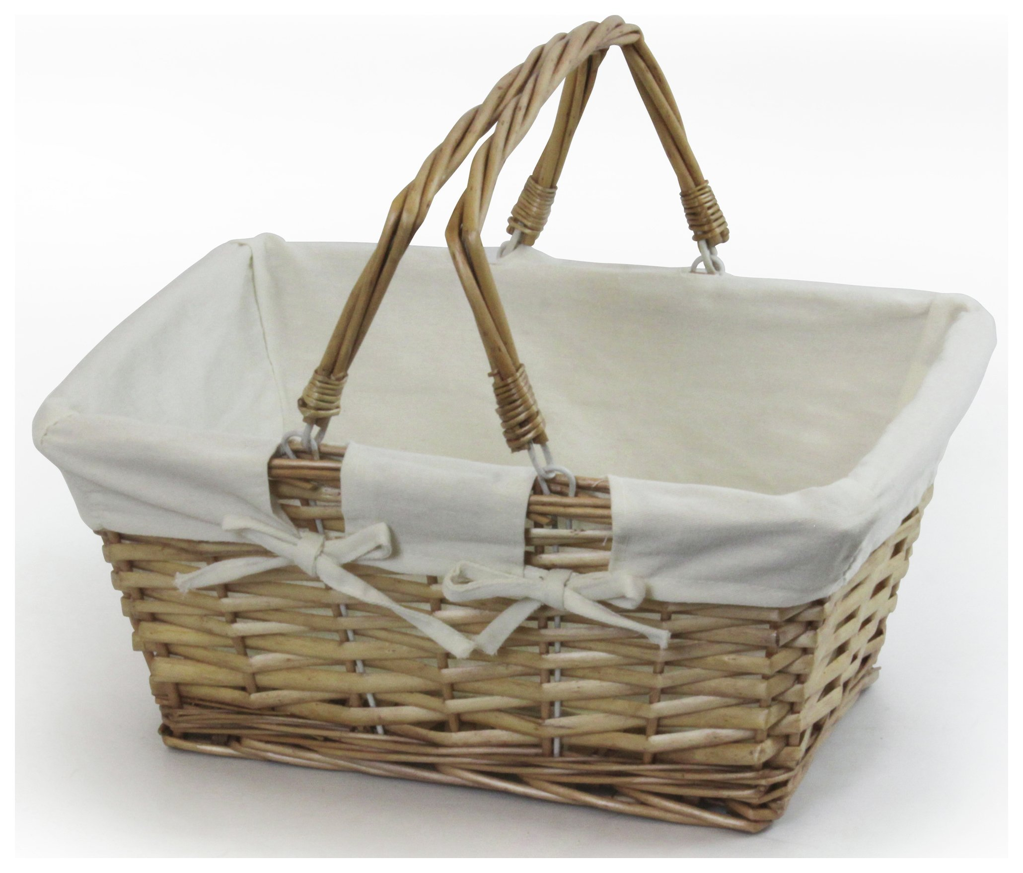 Wicker Log Basket With Handles : Lined wicker log basket with rope handles