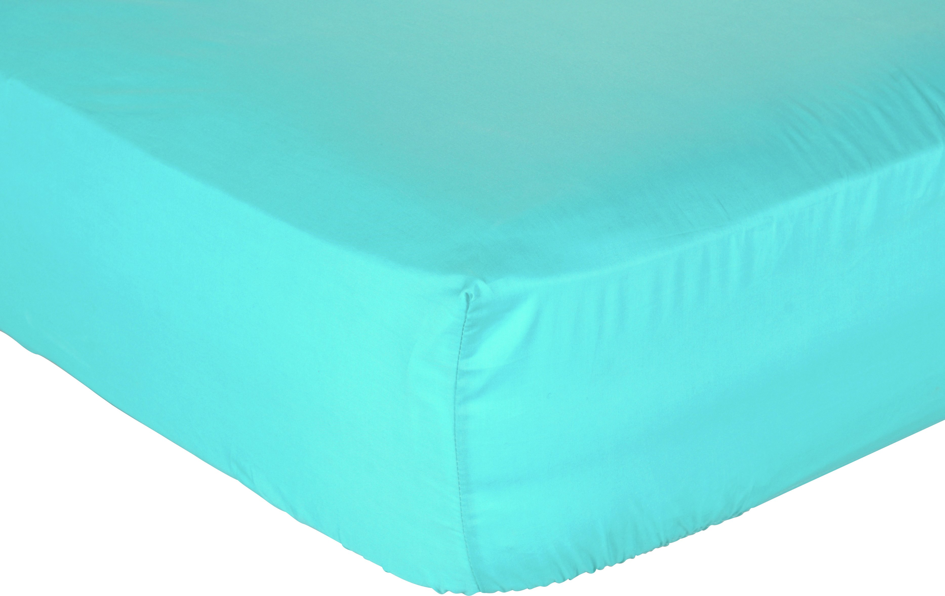 collection teal non iron fitted sheet  single