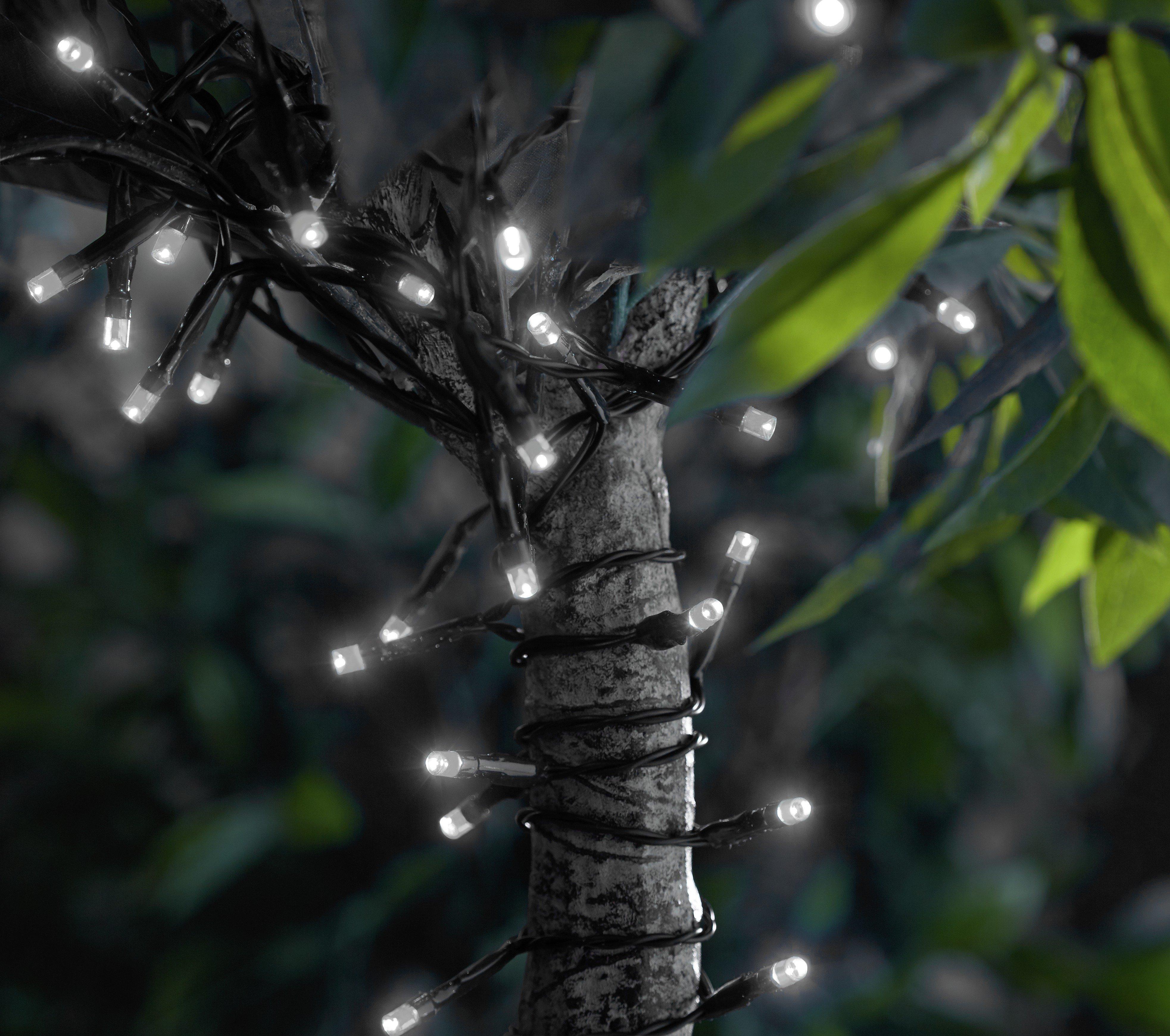HOME Set of 200 Solar LED String Lights - White