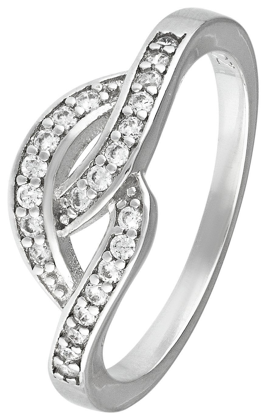 Revere Sterling Silver Cubic Zirconia Crossover Ring