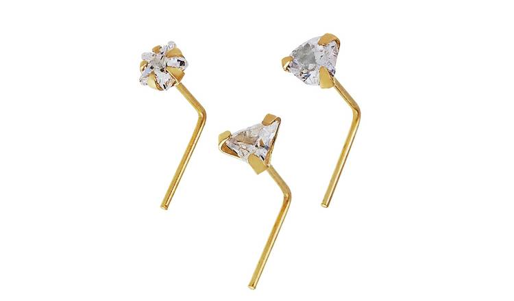 Buy State Of Mine 9ct Yellow Gold Crystal Nose Studs Set Of 3 Body Jewellery Argos