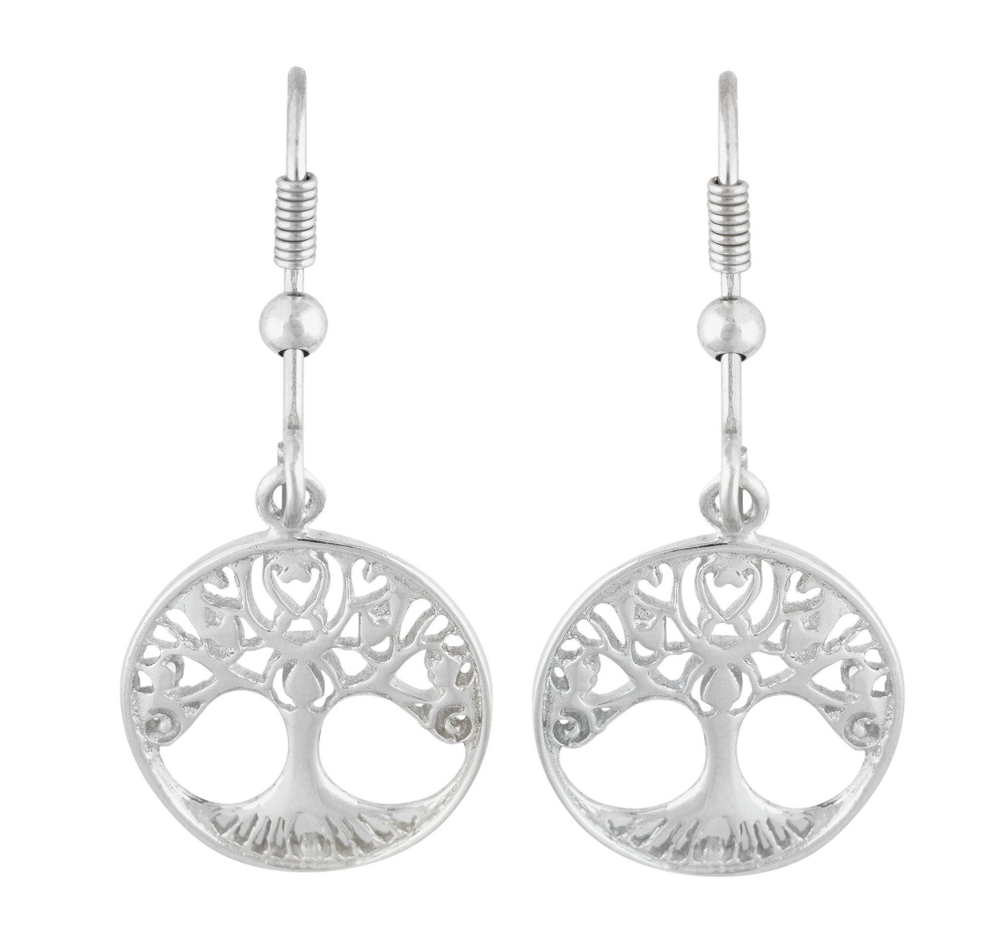 Image of Revere Sterling Silver Family Tree Drop Earrings