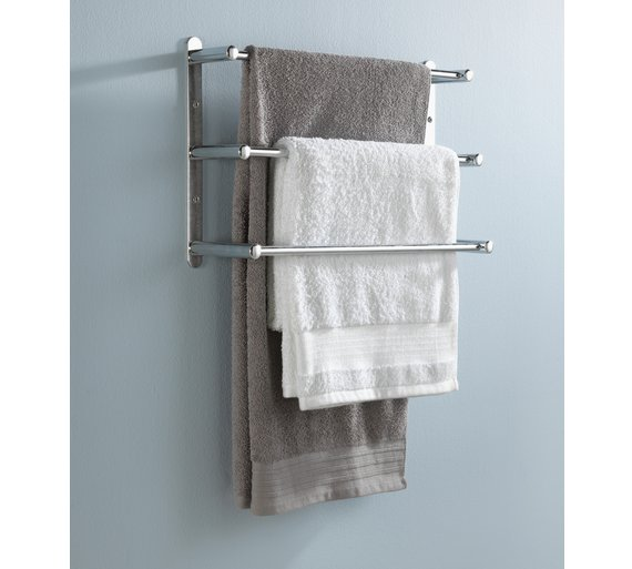 Three tier towel rack cosmecol for Cloth hooks wall mount