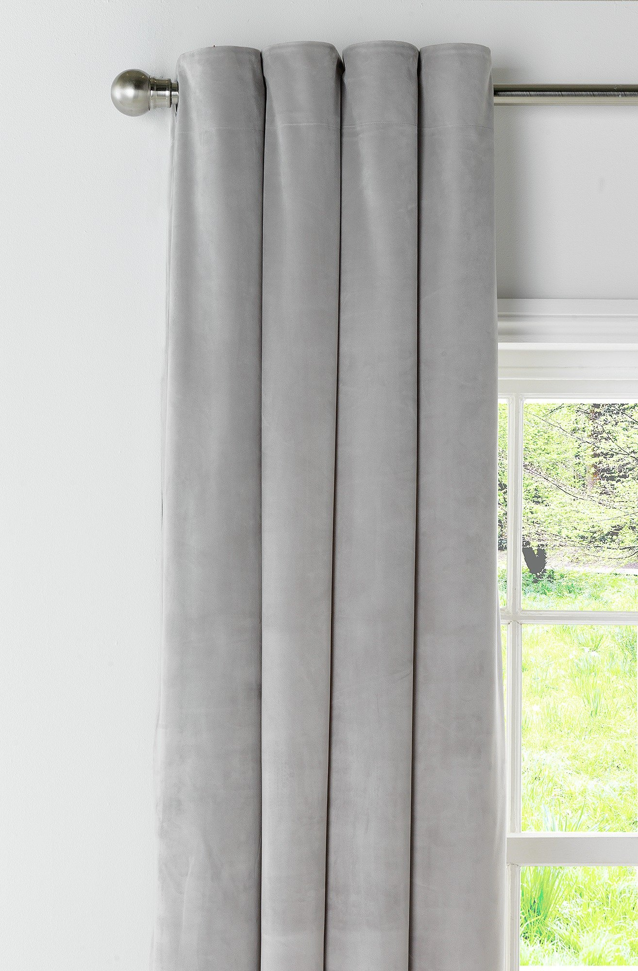 Argos Home Velour Lined Eyelet Curtains -168x137- Pale Grey