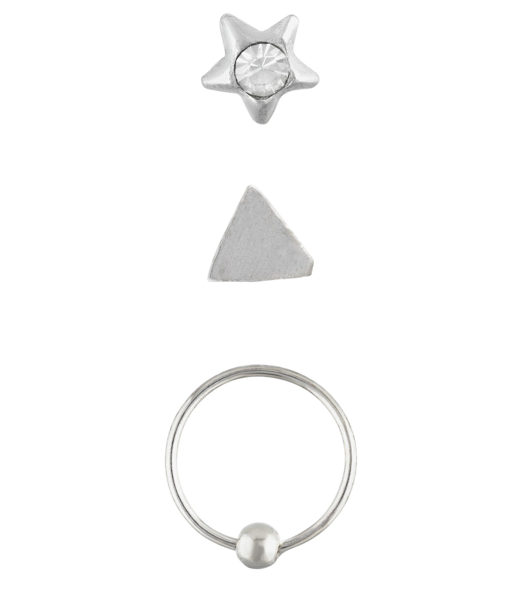 Buy My Body Candy Set 3 Silver Hoop Shapes Nose Studs at Argos