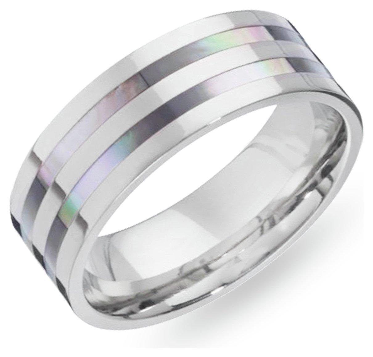 Revere Men's Titanium Mother of Pearl Ring