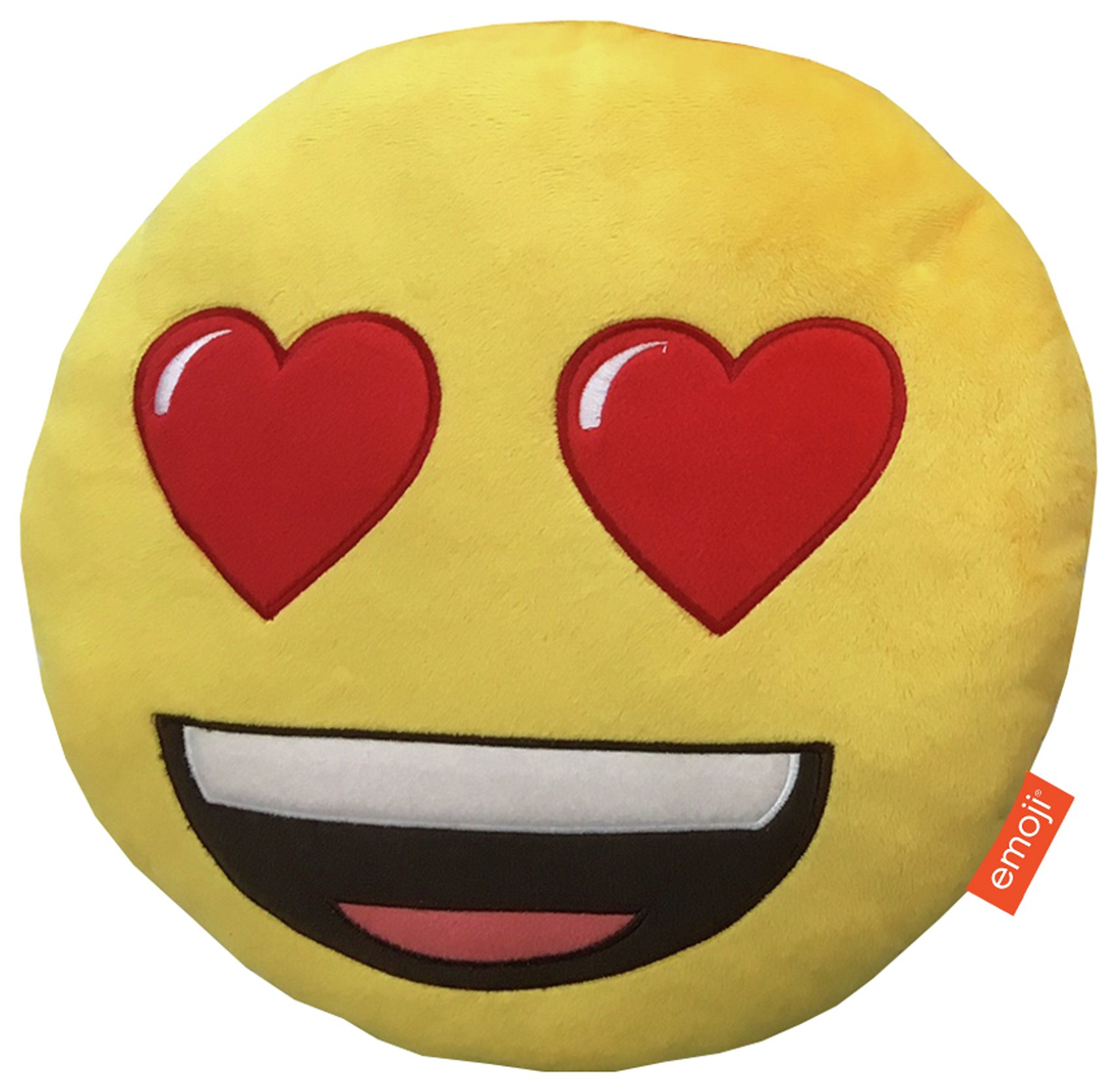 Emoji Round Heart Eyes Cushion - Yellow.