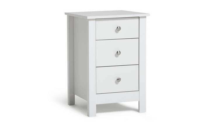 Habitat Osaka 3 Drawer Bedside Table - White